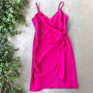 Love Ady Pink Faux Wrap Mini Dress